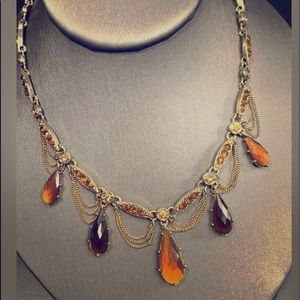 Jewelry - VTG BOHEMIAN 14in AMBER DROP RHINESTONES NECKLACE